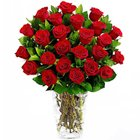 Traditional Red Roses Display in a Glass Vase