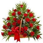 Beautiful Arrangement of Thirty Red Roses in a Basket