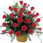 Radiant Presentation of Red Roses in a Basket