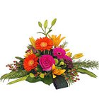 Blushing Mixed Romantic Flower Collection in a Basket with Fillers