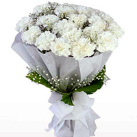 Deliver a delicate Online Bouquet of White Cranations in a tissue wrap