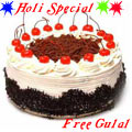 Fresh Baked Black Forest Cake  Filled with Soft Creams from 5 Star Hotel Bakery in the City with free Gulal/Abir Pouch.