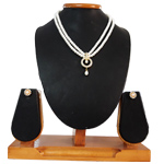 Lovely Round Pendent with Falling Pearls on 2 Line Pearl Necklace Matched with Earrings