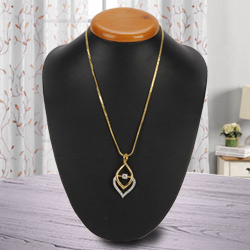 Confounding Luster Gold Plated Necklace with Fernanda Pendant