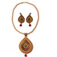Mesmerizing Gold Meenakari Necklace N Earring Set