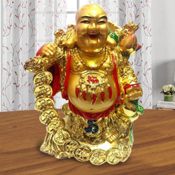 Laughing budha Standing with holding Ru Yi & ingot in left hand along with golden coins