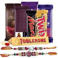 Extravagant Chocolate Gift Hamper with Stunning Floral Rakhi