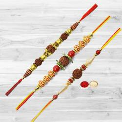 Exquisite Rudraksha Rakhi with Trio Offer