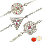 Superb Three Rhodium Plated Rakhis