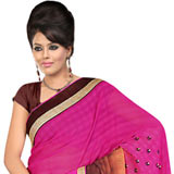 Ravishing Pink, Chrome and Brown Shaded Gorgettee Printted Saree