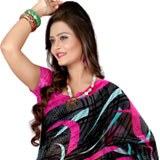 Beautifully Designed Georgette Printed Saree in Black