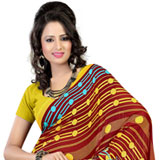 Enticing Brown and Mustard Colour Coordinated Faux Georgette Saree