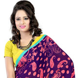 Elegant Faux Georgette Printed Saree in Purple
