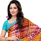 Breathtaking Heavy Dani Georgette Printed Saree in Maroon and Turquoise