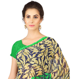 Classic Weightless Georgette Printed Saree Shaded in Black and Green