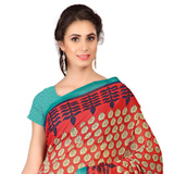 Gaudy Weightless Georgette Floral Printed Saree Shaded with Red and Blue