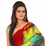 Dazzling Multicoloured Georgette Saree with Digital Printed Design
