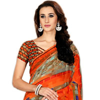 Comfy Multi-color Art Chiffon Printed Saree for Lovely Ladies