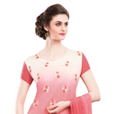 Exquisite Red and Cream Coloured Chiffon Embroidered Salwar Kameez