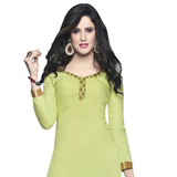 Impressive Cotton Printed Patiala Suit Shaded in Light Green