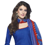 Ravishing Cotton Printed Patiala Suit Blue and Red in Shade
