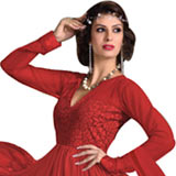 Trendsetting Women's Net N Brasso Red Printed Salwar