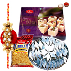 Delicious <font color=#FF0000>Haldiram</font> Sweets hamper along with free Rakhi, Roli tilak and Chawal