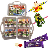 36 Pcs Coloring Set from Ben 10 with Rakhi and Roli Tilak Chawal