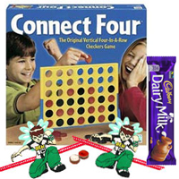 Connect 4 – A Classic game for All Ages with 2 Ben 10 Rakhi with 1 Cadbury Dairy Milk Chocolate Bar (13 gm) and Roli Tilak Chawal