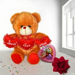 Lovely Tri Heart Bear with one velvet Rose