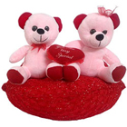 Excellent Two Teddy Bears Sitting on Red Cushion