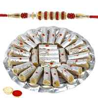 Mesmerizing Rakhi with Kaju Pista Roll Gift Set