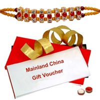 Refreshing  Gift Voucher from MainLand China with Nice free Kids Rakhi, Roli, Tilak and Chawal