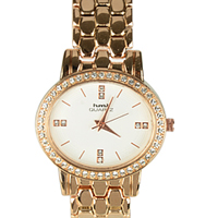 Pretty Stone Studded Golden Wrist Watch for Women