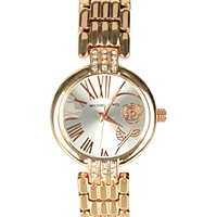 Glamorous Stone Studded Wrist Watch for Ladies in Golden Colour