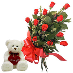 12 Red Roses Bunch with a small teddy bear to Cottonpet