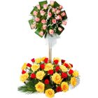 Bright 50 Mixed Roses in 2 Tier Arrangement with Spectacular Surprise