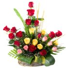 Exquisite Basket with Fabulous Arrangement of 24 Mixed Roses