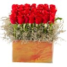 Enchanting 35 Red Roses Arrangement and Greens with Romantic Thrill