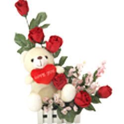 Exotic Red Roses with a Teddy and Heart with Affection