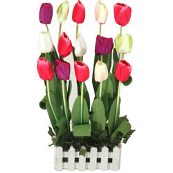 Impressive Artificial Arrangement of Long Lasting 15 Tulips