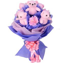Mesmerizing Arrangement of Pink Teddies N Artificial Pink Carnations in a Bouquet