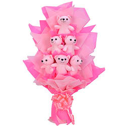 Fabulous Bouquet decked with 6 Pink Teddies