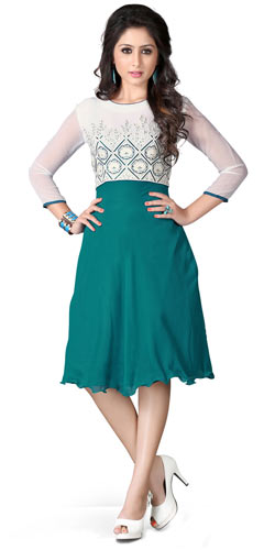 Graceful Georgette Embroidered Kurti Shaded in White and Turquoise
