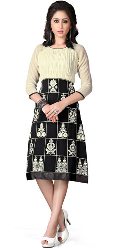 Astonishing Beige and Black Coloured Georgette Embroidered Kurti