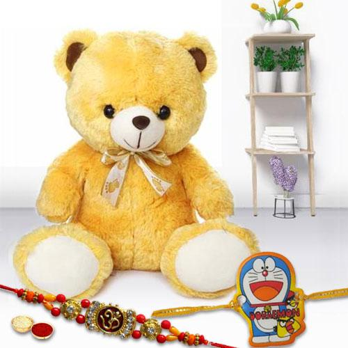 Smashing Combo of 2 Rakhis with Cute Teddy Bear