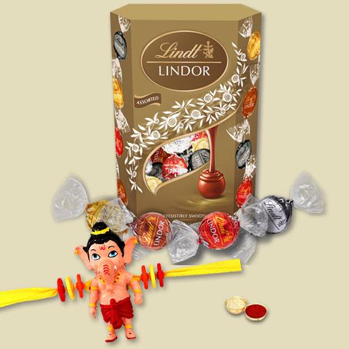 Trendy Rakhi for Bhai with Special Lindt Lindor Chocolate Pack