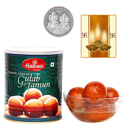 Gulab Jamun With Silver Plated Coin