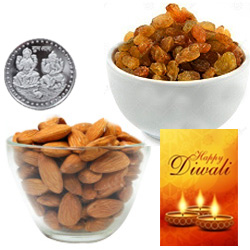 Nutrient Almonds And Raisin With Silver Plated Coin And Diwali Card