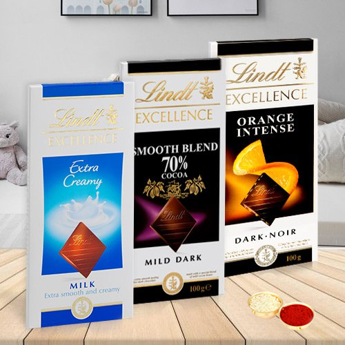 Enjoy with Lindt Chocolate Bars with free Roli Tilak and Chawal